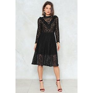 Lace Black Midi Dress - Nasty Gal